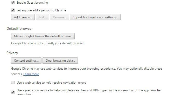 Google chrome setting option