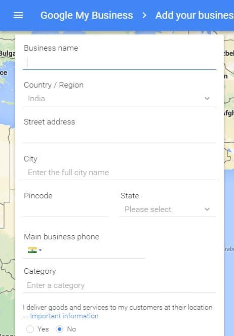 Submit your business details to google