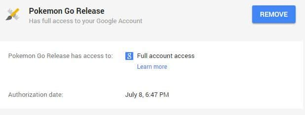 Stop to access Google account from Pokémon Go for android user