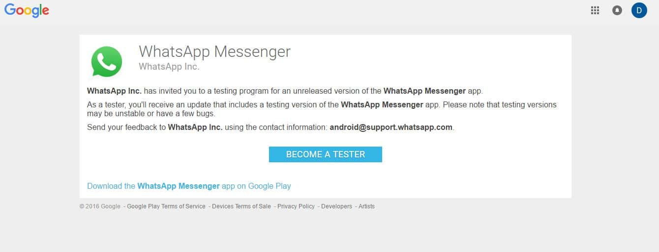 Accept for tester on WhatsApp Beta