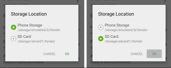 Storage path for phone storage or memory card