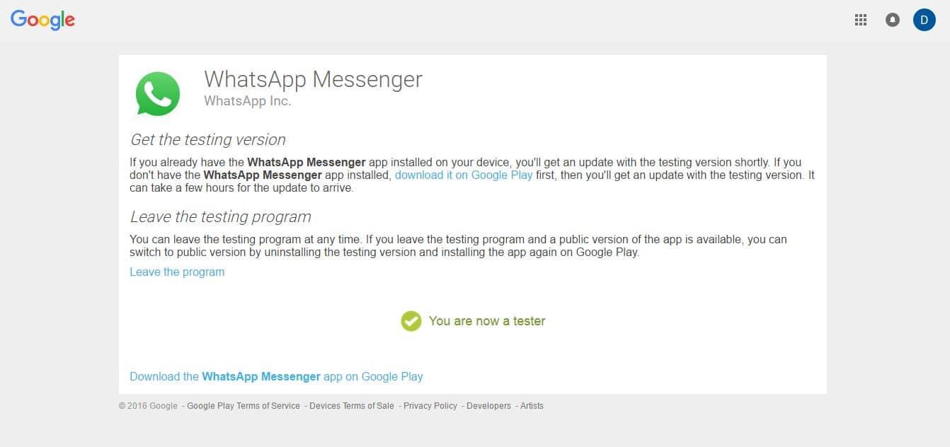 Register WhatsApp Beta Programe
