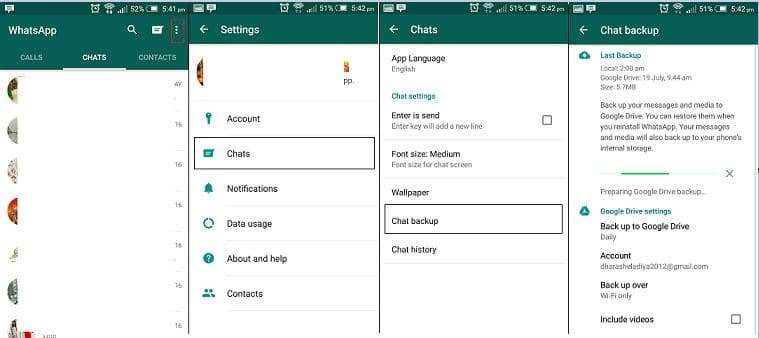 WhatsApp backup stored in android mobile
