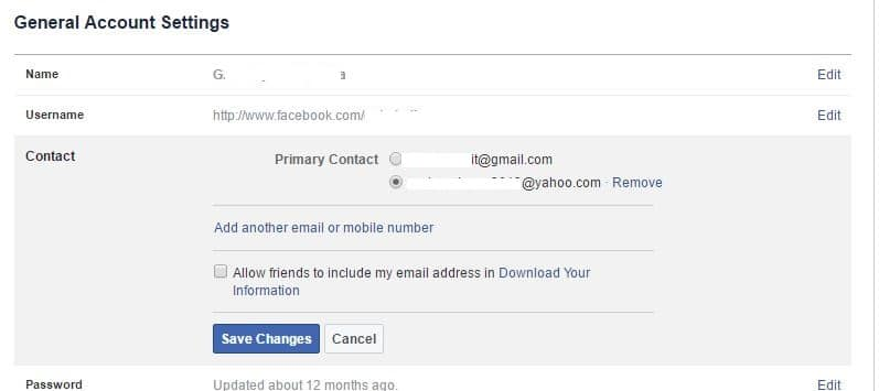 Add New Facebook Email in Account
