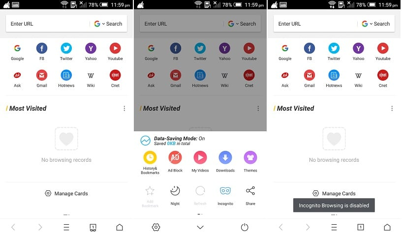 Enable Private Browsing in UC Browser android mobile