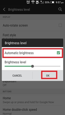Set Display on Auto Brightness