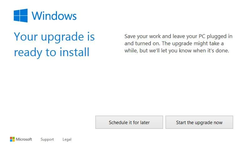 Start Windows 10 upgrade
