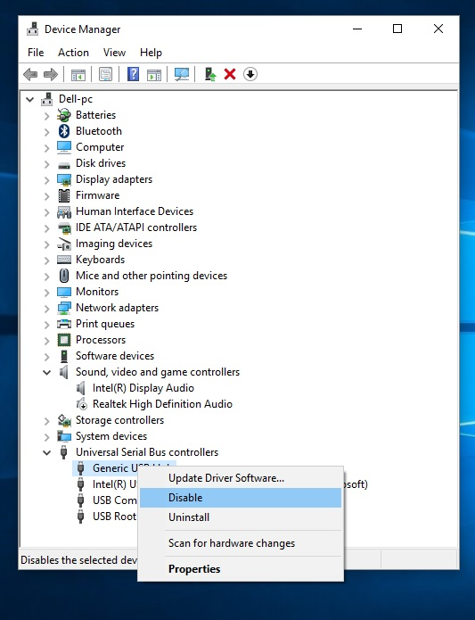1 Disable USB driver from Device manager