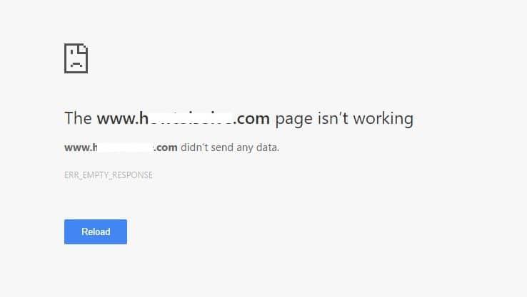 ERR_EMPTY_RESPONSE error on Web Browser