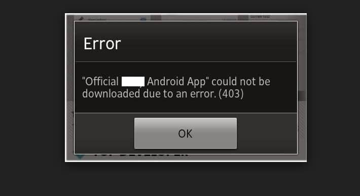 Error 403 on Download app from play store