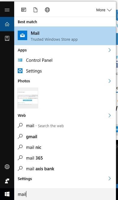 1 Mail app on windows 10