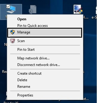 1 Manage option in windows 10