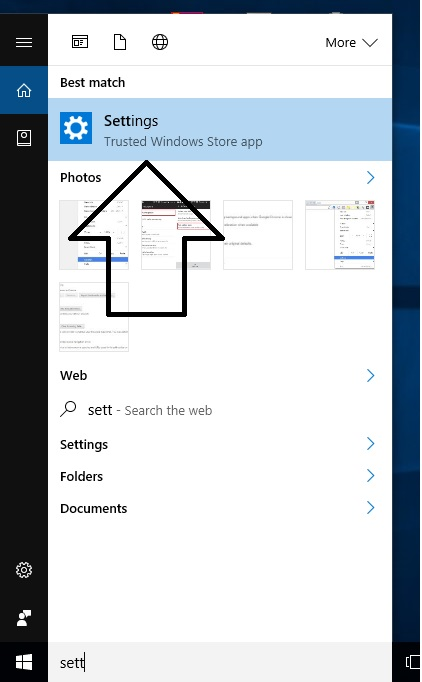 Search Setting from search panel