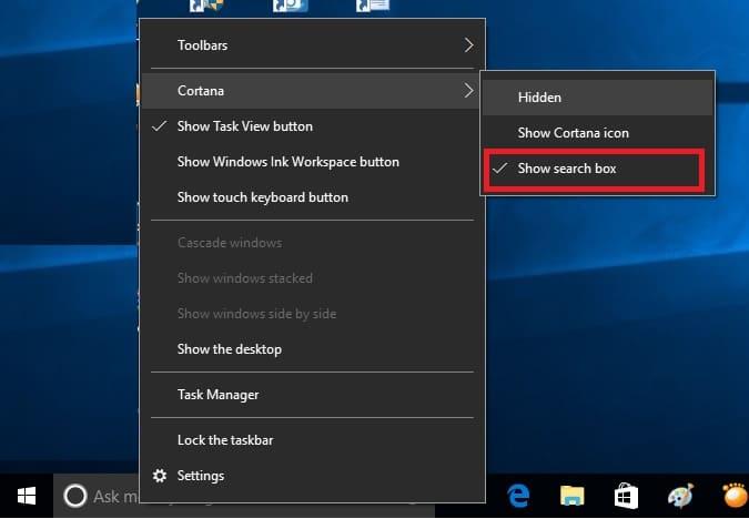 3 Hide search box and show cortan icon