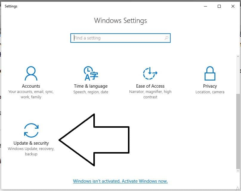 1 Update & Security in windows 10