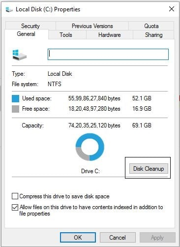2 Disk Cleanup option in windows 10 drive