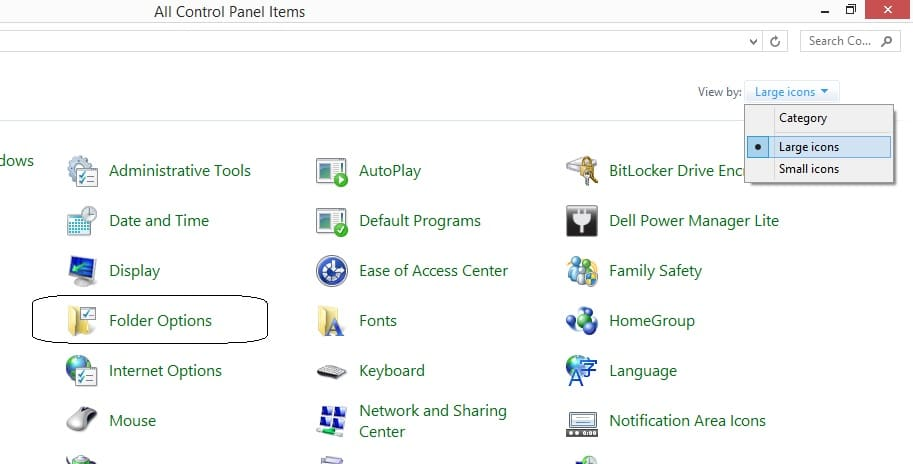 Control panel in windows 10 and option for folder settings