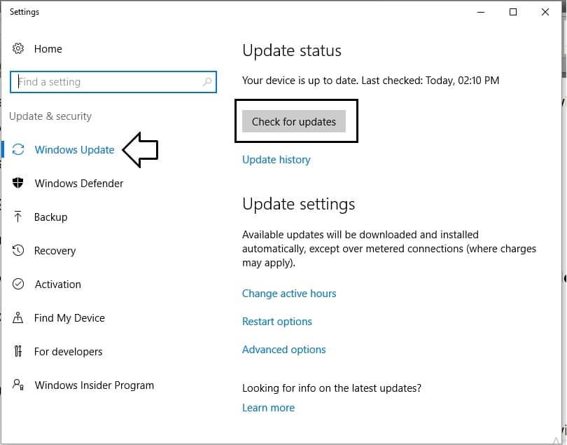 2 Windows Update option in windows 10