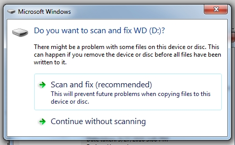 2 scan and fix external drive error in windows 10