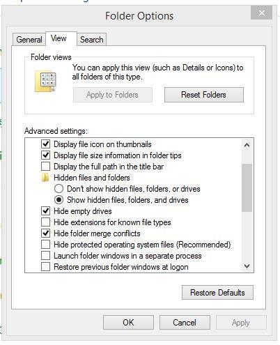 Unhide or Show hidden folder on Windows 8