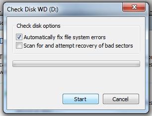 3 Start hard drive scane for fix error