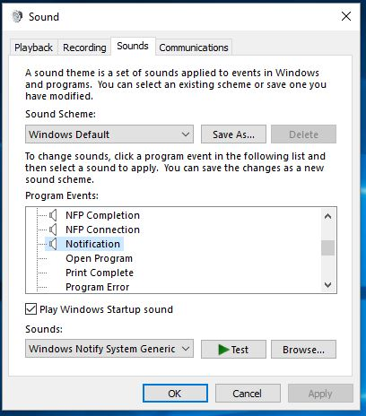 3 Windows 10 notification sound option in settings