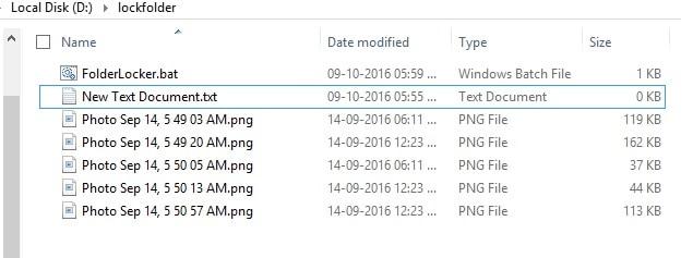 Folder Locker batt file in lock folder