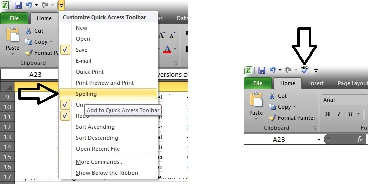 5 Enable auto check speeling in MS Excel