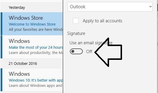 How to Change or Add Email Signature in windows 10 Mail app