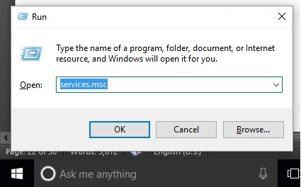 8 Open Services from run windows in windows 10