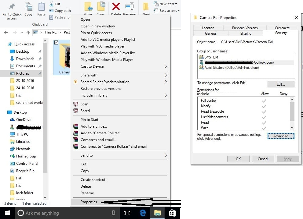 Change Camera roll privacy settings on Camera app not working in windows 10