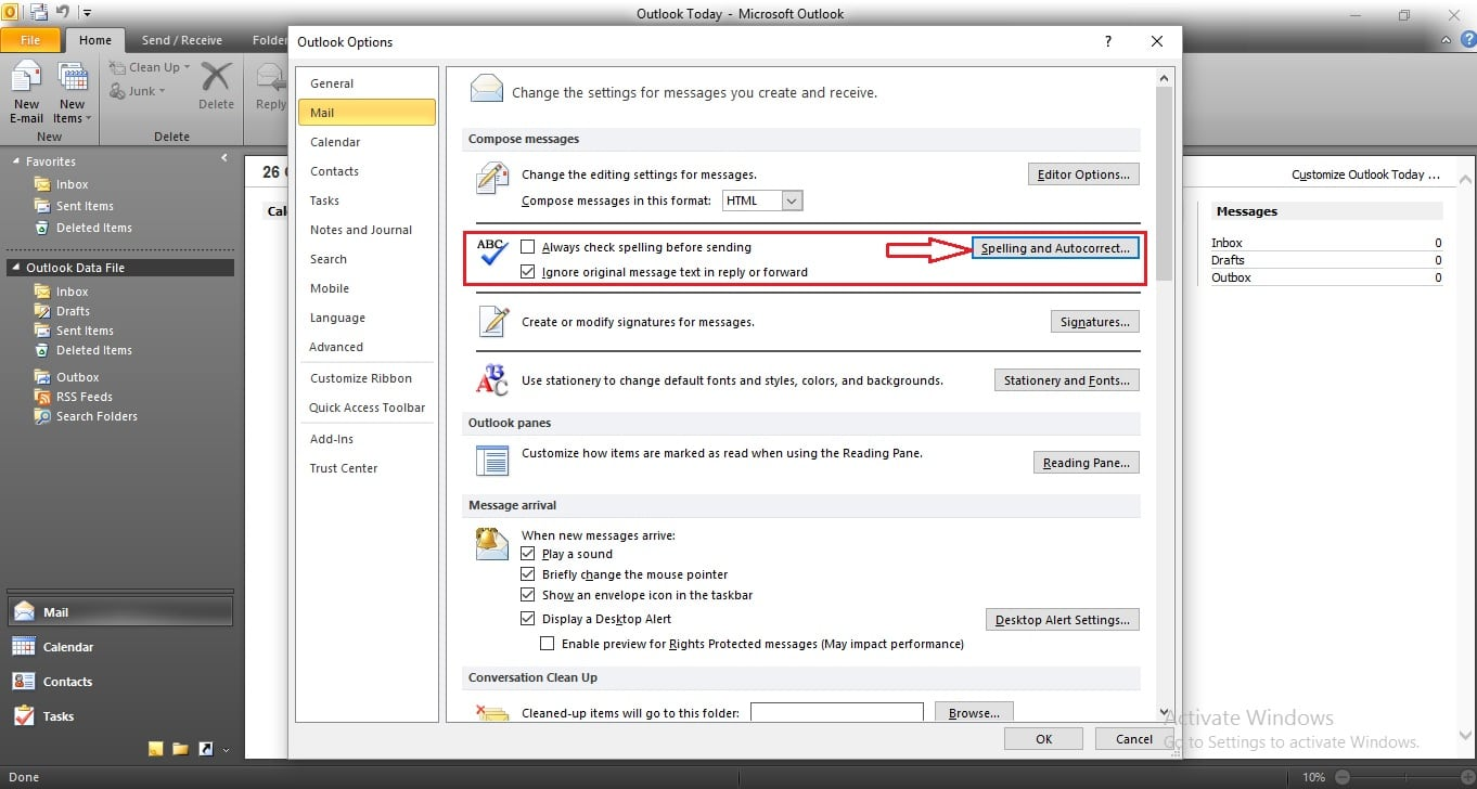 Outlook mail auto check spell and Syntex in windows laptop or PC