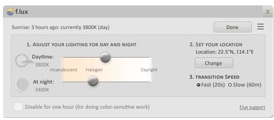 flux for reduce blue light on Windows Laptop or PC
