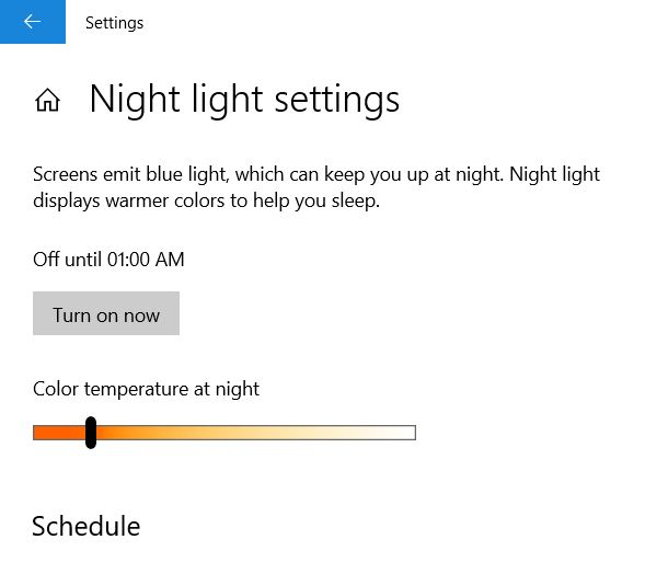 Turn on Now for Enable Night mode on windows 10