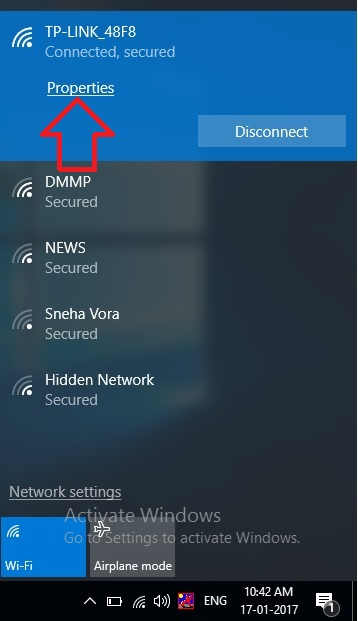 WiFi connection on windows 10 laptop