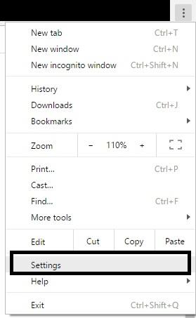 1 Google Chrome Settings option