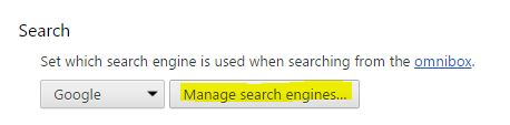 2 Manage Search Engine in google chrome