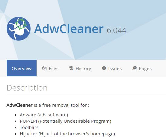 AdwCleaner tools for remove adware or clean browser