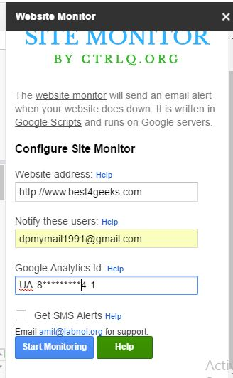 Enter valid information about website and analytics