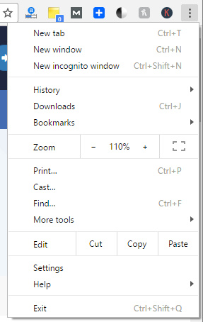 option in google chrome browser