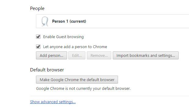 Advanced Settings in google chrome
