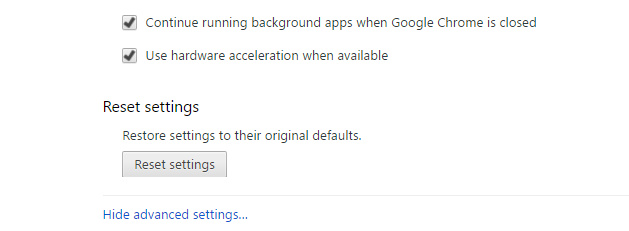 reset browser settings from google chrome