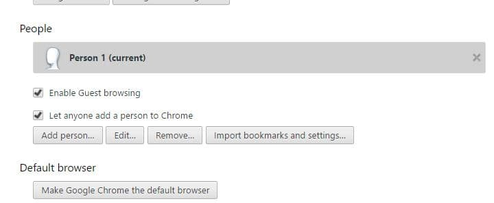 add person or account in Google chrome