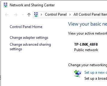 1 Change Adapter settings in windows 10