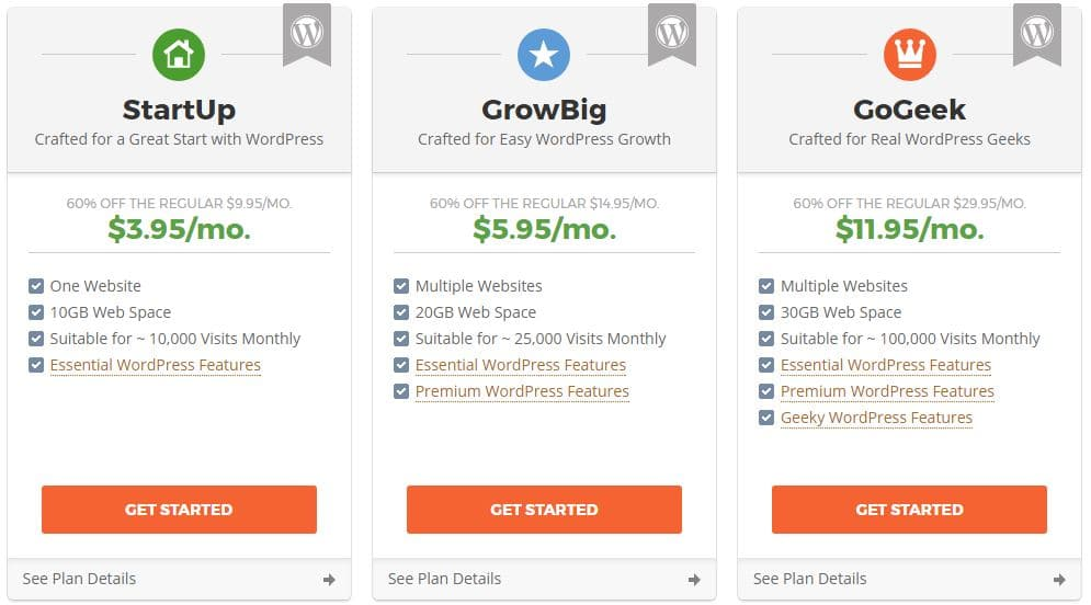 1 Siteground Hosting plans and Coupons