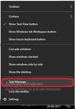 1 Task manager in Windows 10