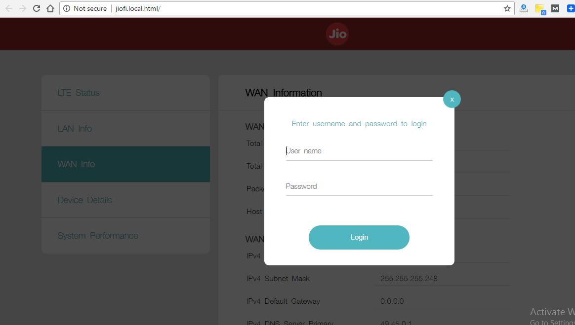 2 Jio username and password