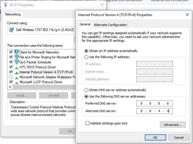 4 Change DNS Server address: fix DNS_PROBE_FINISHED_BAD_CONFIG