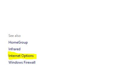 4 internet option in Windows settings