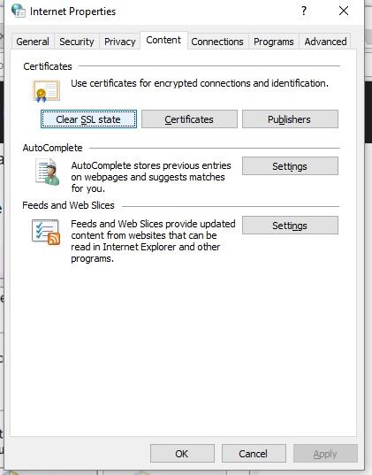 5 Clear SSL Status in WIndows internet settings